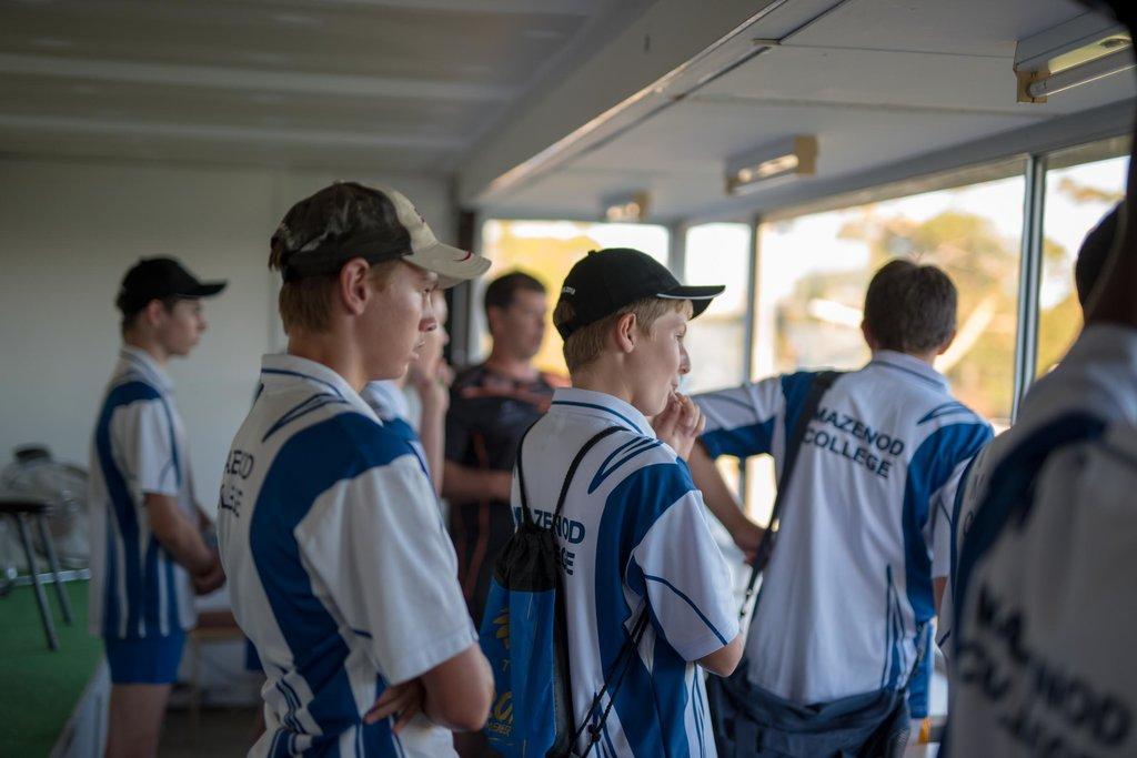 Mazenod College boarders in the SDFC coaches box