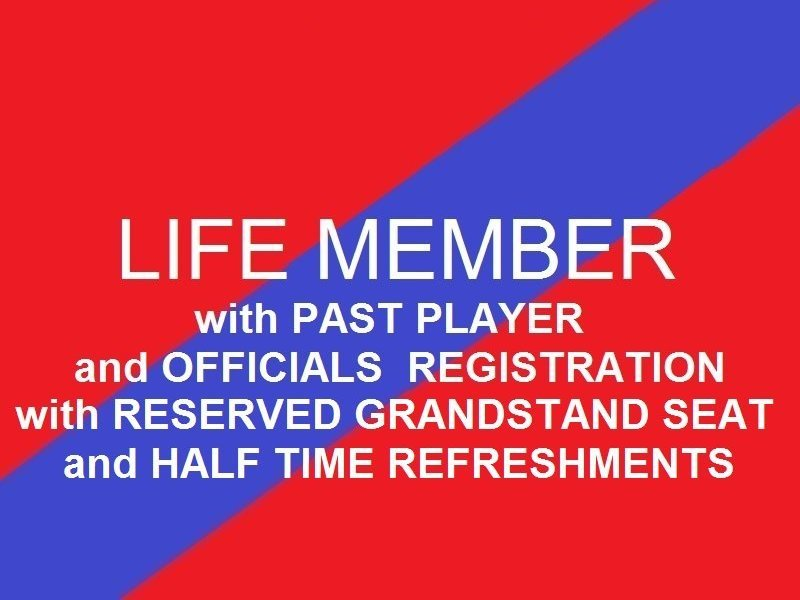 Life Member  Past Player and Officials Reserved Grandstand seat - Half time refreshments