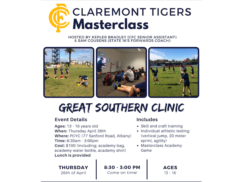 Claremont Tigers Masterclass - Great Southern