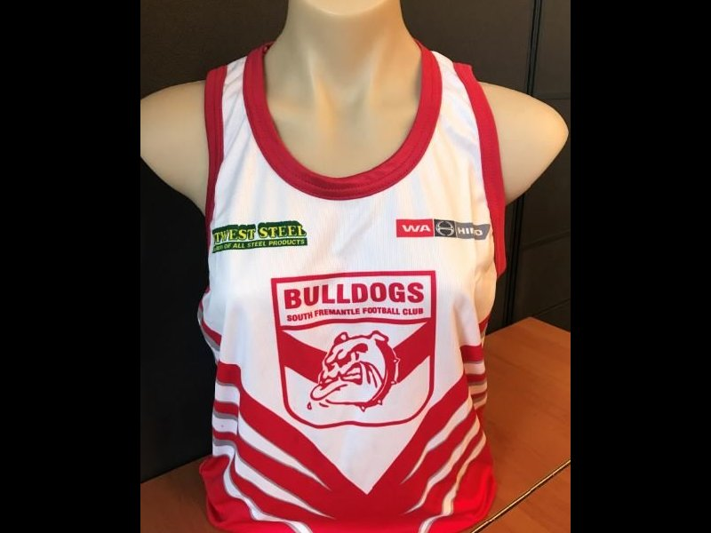 White with Red Stripes Training Singlet
